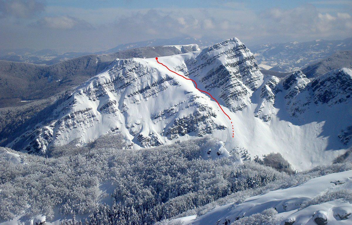 Monte Roccabiasca - Canalone Centrale