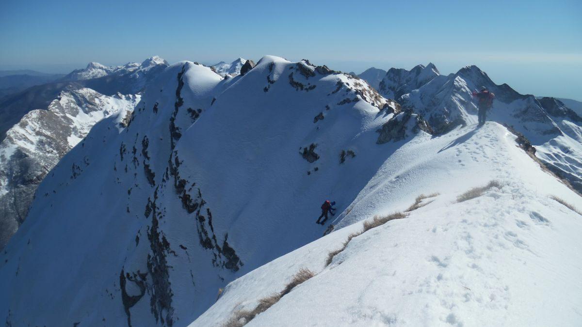 Discesa dalla via Nerli - Sarperi: in primo piano la parte finale della cresta della Mirandola, sullo sfondo Panie, Tambura e Cavallo