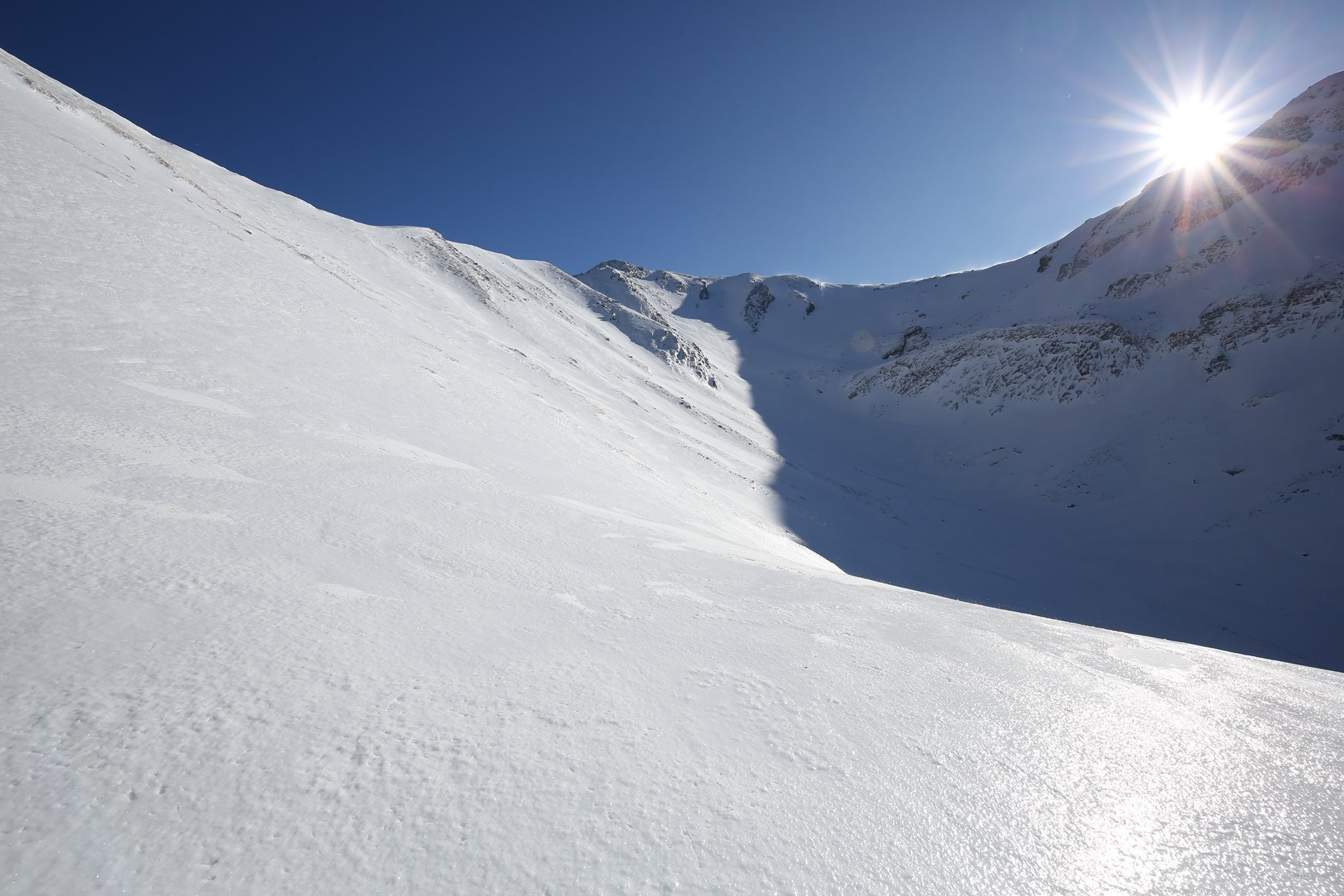 Il vallone del Rio Pascolo, dove sale la 'normale invernale' (foto Stefano Panciroli)
