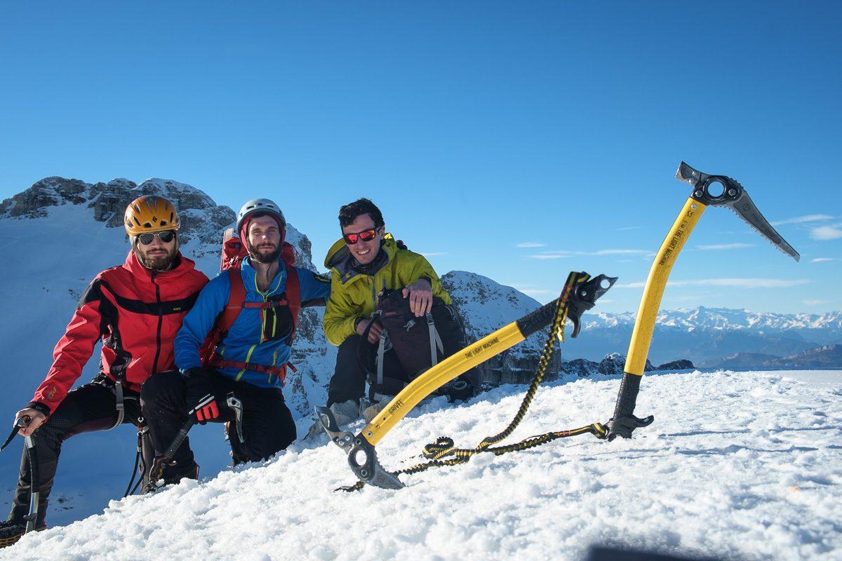 Foto di vetta, da sinistra: Mario, Federico, Luca