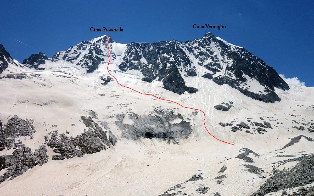 La bastionata Presanella-Vermiglio, in rosso la linea della Via Faustinelli (l'avvicinamento può variare in funzione delle condizioni del ghiacciaio)
