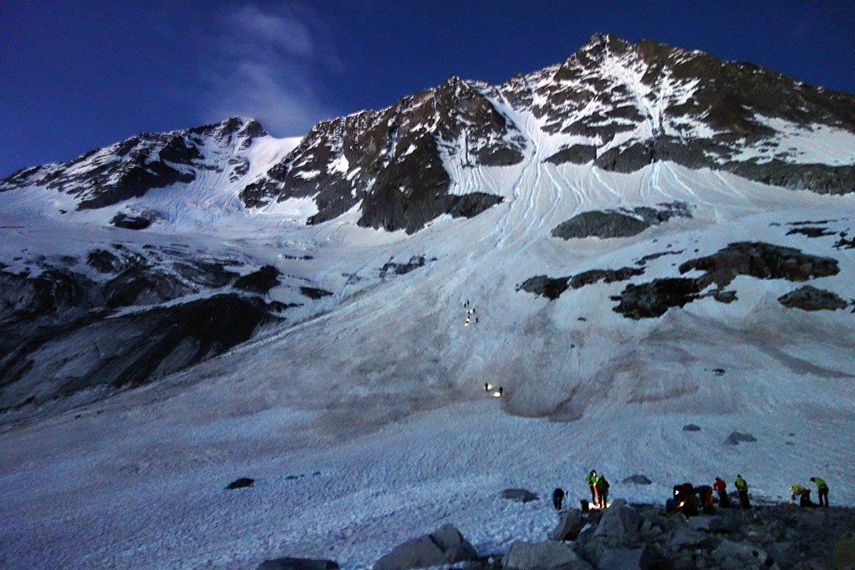 Avvicinamento su ghiacciaio