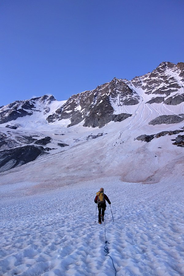 In avvicinamento sul ghiacciaio