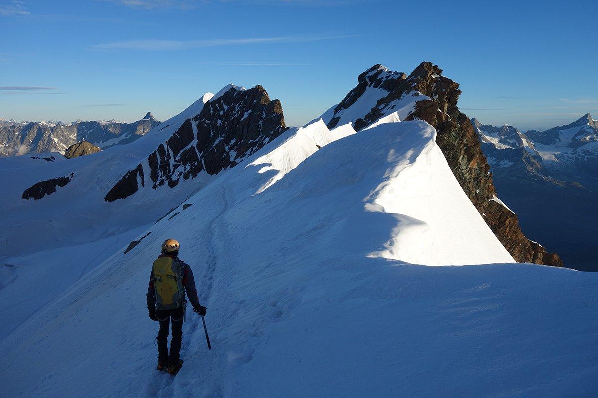Sulla prima parte di cresta verso il Gemello del Breithorn