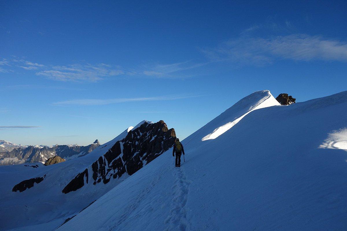Prima parte nevosa verso il Gemello del Breithorn