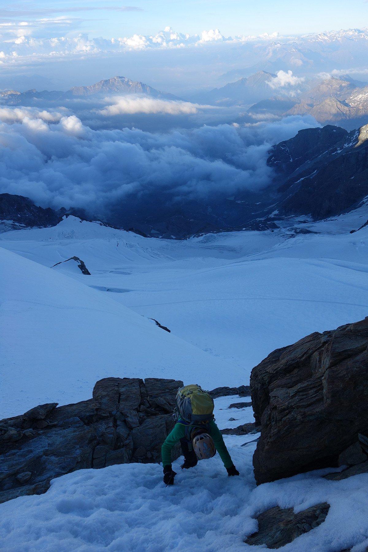 Misto facile verso la cima del Gemello del Breithorn