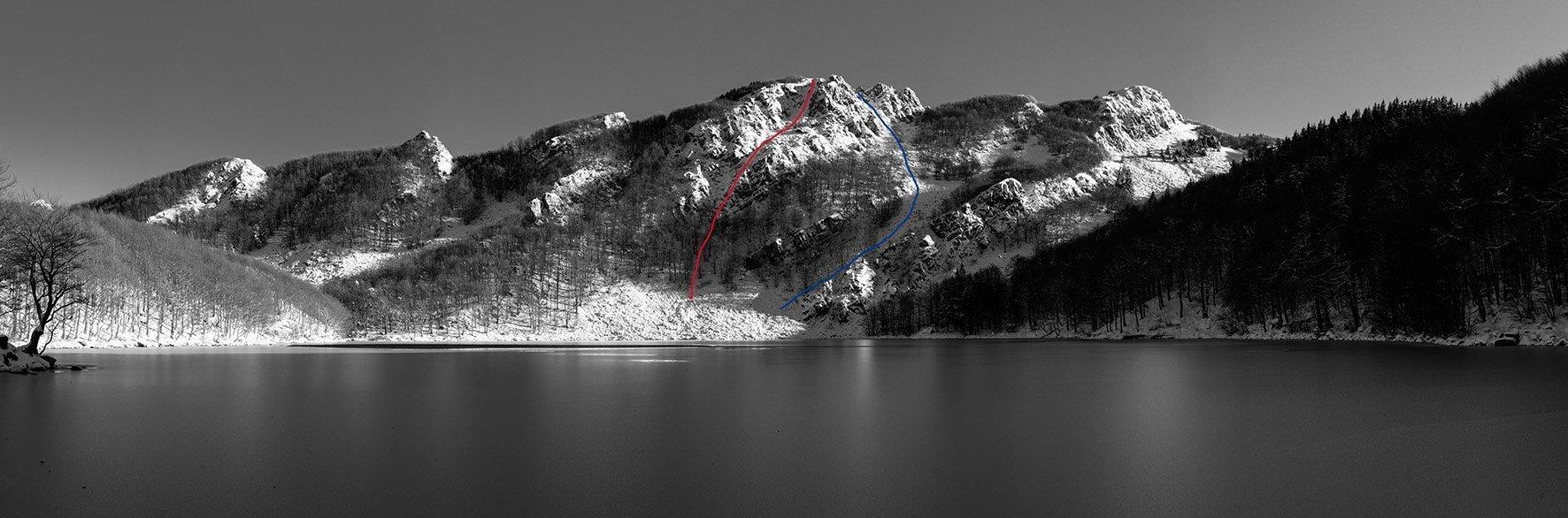 La cresta dello Sterpara e il Lago Santo. In rosso la via di salita, in blu la discesa.