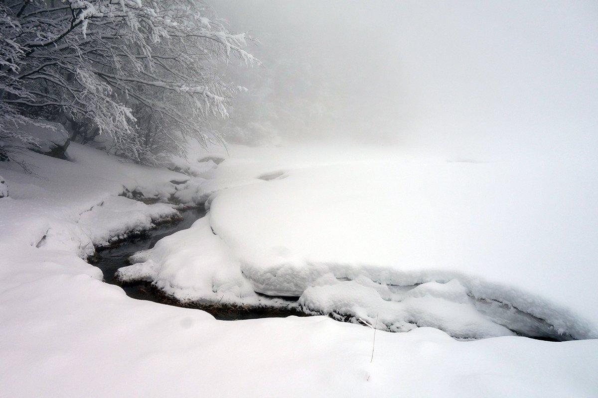 Il ruscello alle Sorgenti del Secchia (1563 m) e gli evidenti strati della neve