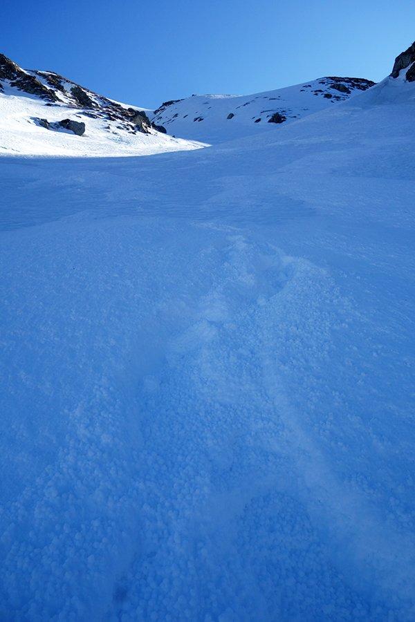 Caratteristica neve pallottorale in discesa nella Valle dei Porci